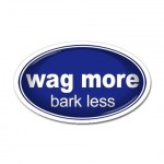 wag more bark less white words on blue background